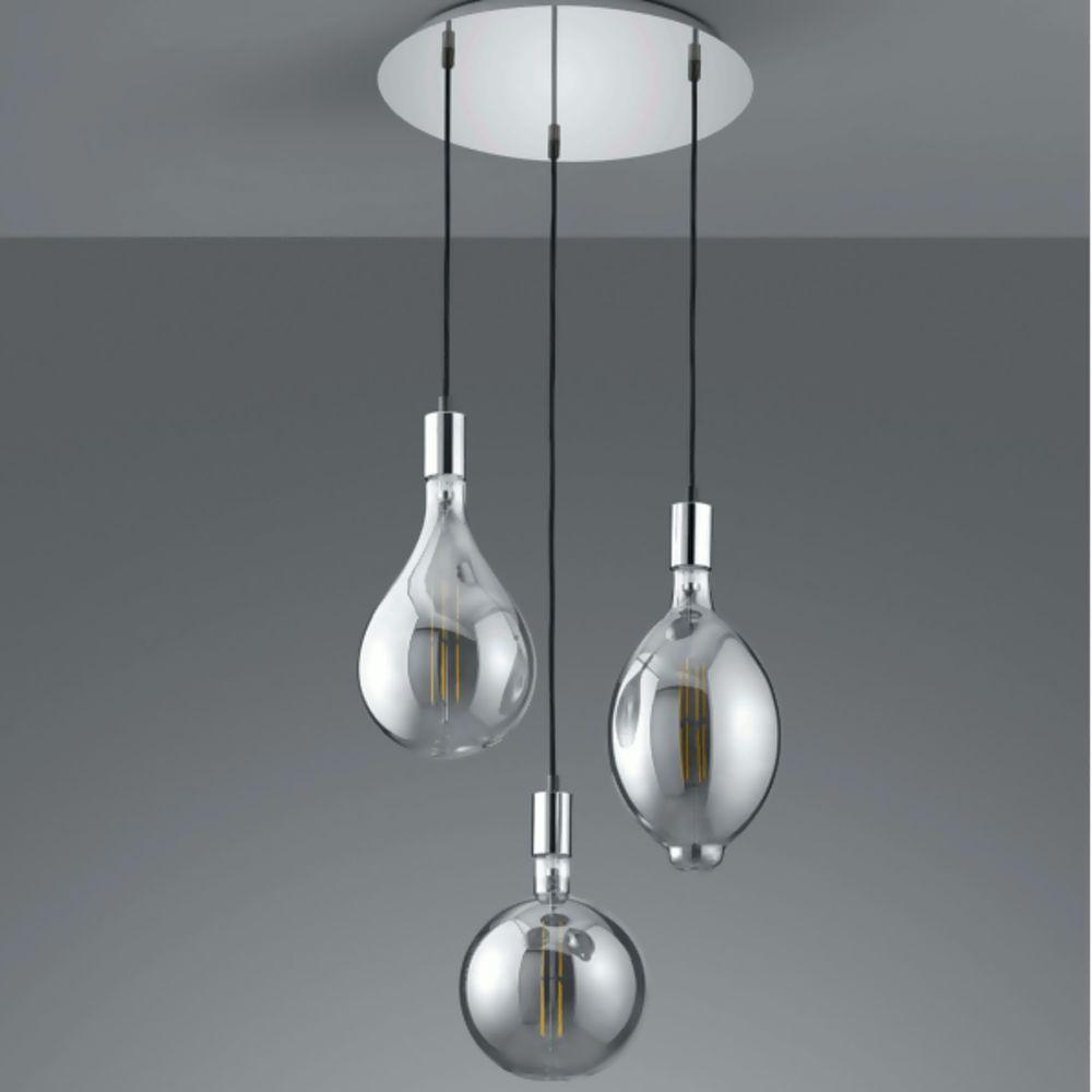 Trio Ginster Led Pendant Lights Chrome Smoked Glass