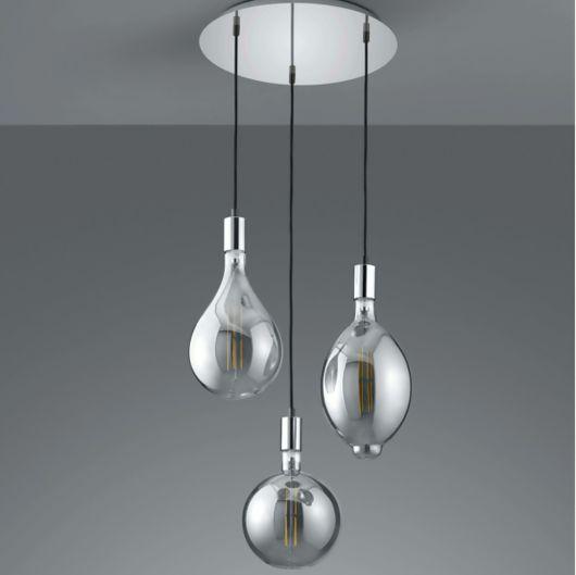 Trio Ginster LED Pendant Lights - Chrome/ Smoked Glass