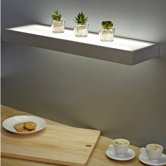 Sirius Floating Box LED Glass Shelves 600mm