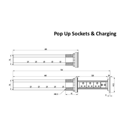 Fully Motorised Worktop Pop Up Socket - 3 x UK Sockets & 2 USB Ports