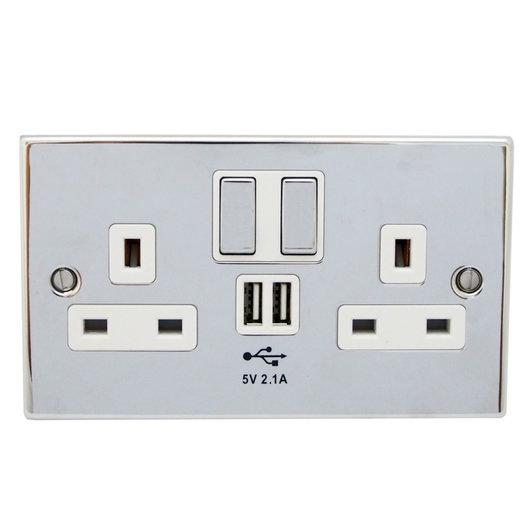 Double Plug Socket With USB